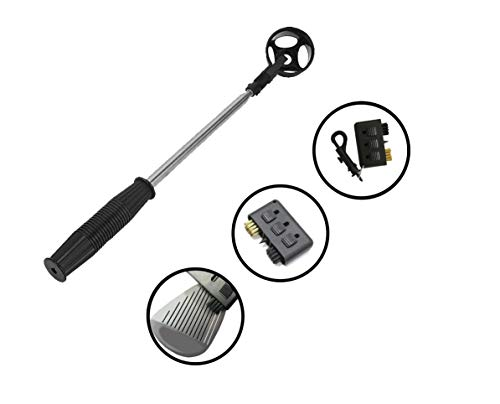 Club Champs Golf Ball Retriever and 3-in-1 Pocket Golf Club Brush Accessories Set, Lightweight, Picks Up Ball from Water Hazards, Telescopic, Collapsible