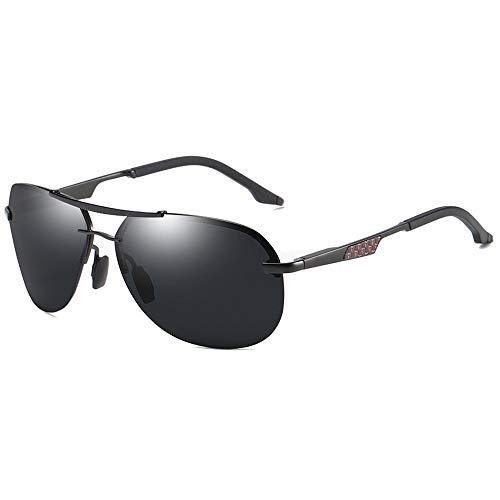 Hancoc Trend New Street Shooting - Gafas de sol polarizadas con material de metal silvestre para hombre y mujer con las mismas gafas de sol de conducción (color: negro)