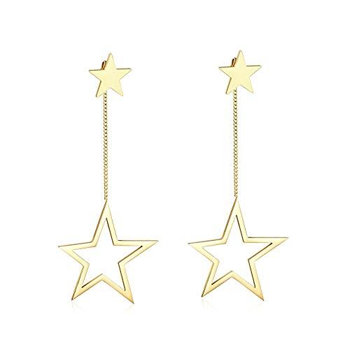 Pendientes colgantes de acero inoxidable con forma de gota de color dorado coreano de estrella para joyería de mujer