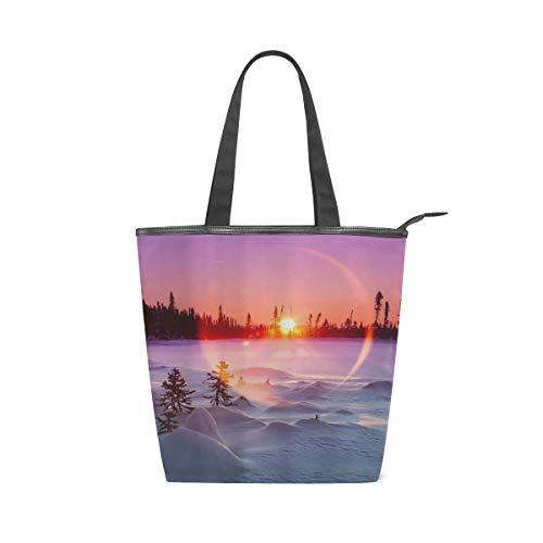 BOSENKE Laptop Tote Bag for Women Lightweight Fashion pattern canvas Handbag Womens Shoulder Bag, Winter Sunset Nature Tree Forest White Snow Country Farmhouse Art (work/shopping/school/travel)
