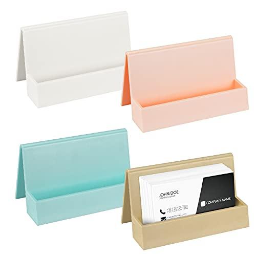 Meetory Soporte de tarjeta de visita de 4 piezas para escritorio, soporte de exhibición de plástico moderno, titular de la tarjeta de visita para el hogar oficina