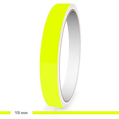 Motoking Zierstreifen, Neon Gelb Fluoreszierend, 15 mm Breite, 10 m Länge, Aufkleber Folie Auto Boot Motorrad Wohnmobil Wohnwagen & mehr