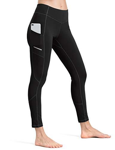 ALONG FIT Leggings Damen mit Taschen, Nicht durchsichtig Sporthose Damen Dehnbar Yogahosen für Damen, Reflektierendes Schwarz, M