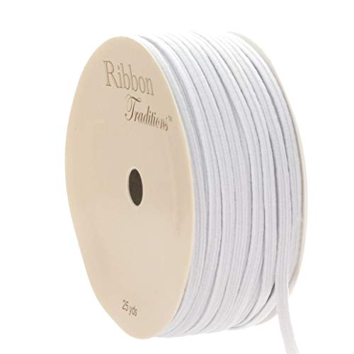 "1/8"" Width Skinny Elastic Band - Braided Cord - White 25 Yards - USA Warehouse"