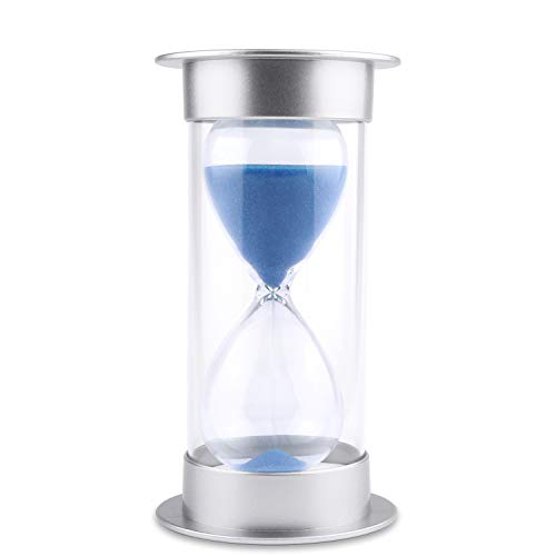 Hourglass Sand Timer 5/10/15/30/45/60 minutes Sand glass Timer for Romantic Mantel Office Desk Book Shelf Curio Cabinet Christmas Birthday Gift Kids Games Classroom Kitchen Home Dec (60 min, blue)