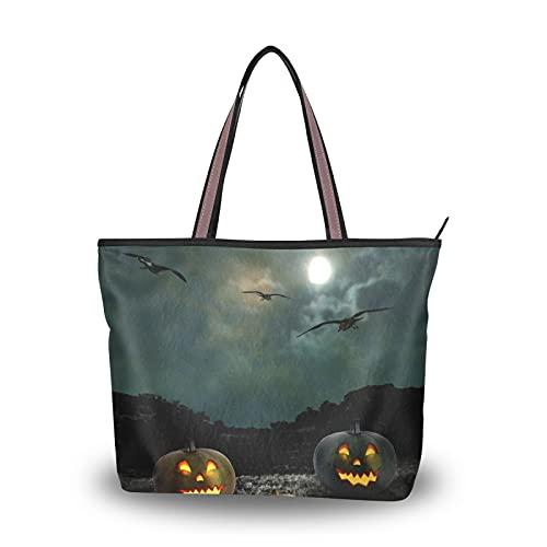 Leichte Umhängetaschen für Mutter Frauen Mädchen Damen Studentin Halloween Nacht Mond Krähe Jack Laterne Handtaschen Einkaufstasche Geldbörse Einkaufen