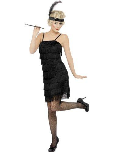 Smiffys Damen Fringe Flapper Kostüm, Kleid und Stirnband mit Feder, Größe: S, 33451