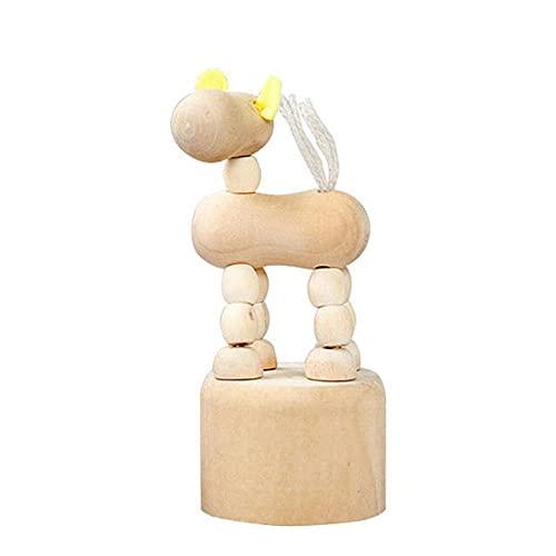 GAOSHUI Adornos De Escritorio Mini Decorativos Modelo Resina1Pc Cartoon Wooden Movable Puppet Clown Horse Giraffe Dog Statue Crafts Toy Gifts Figurine Ornaments Home Decor