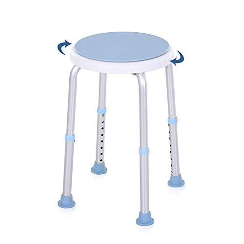 Hengda Duschhocker Duschstuhl Höhenverstellbar Badehocker 360° Drehbar Duschhilfe Duschsitz Badsitz mit Rutschfesten Gummispitzen für Alter Schwangere aus