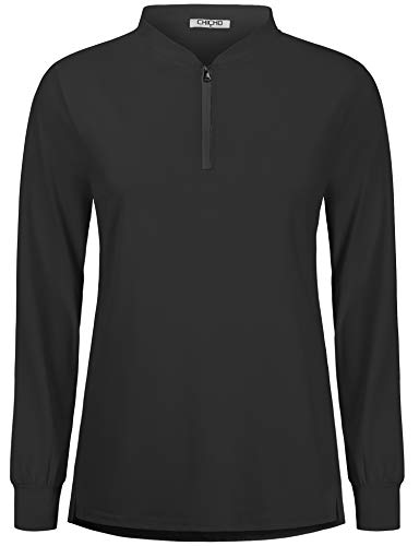 CHICHO Tennis Shirts for Women, Casual Basic Sport Long Sleeve Polo Fitness Workout UPF 50+ Sun Protection1/4 Zip Poloshirt Table Tennis Sportwear Black X-Large