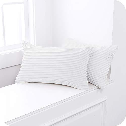 Amazon Brand – Umi Fundas para Cojin de Color Liso Cuadrado Suave 2 Piezas 30x50cm Blanco