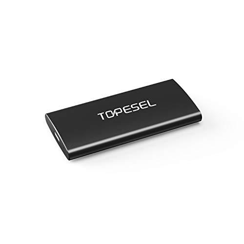 TOPESEL Disco Duro Externo SSD de 120GB, Portátil Ultrafino 450 MB/s, USB 3.1 Tipo C Externo SSD de Aluminio, para PC, Mac, Ordenador Portátil, Teléfono Móvil, Negro