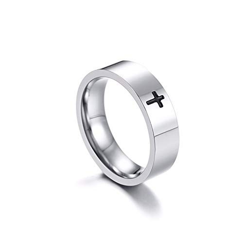 Stainless Steel Cross Ring for Mens Womens Christian Jesus Christ Lord Prayer Silver Color 5 silver