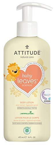 ATTITUDE Natural Baby Body Lotion for Sensitive Skin, EWG Verified, Hypoallergenic, Dermatologist Tested, Pear Nectar 16 Fl Oz