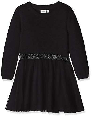 NAME IT Mädchen NKFRALUKKA LS Knit Dress NOOS Kleid, Schwarz (Schwarz Black), 140