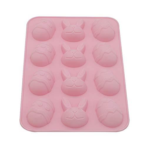 Moldes de silicona en forma de conejo y huevo DIY Chocolate Conejito de Pascua para hornear pasteles caseros y regalos horneados para vacaciones Moldes para hornear panecillos-pink-