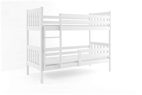 Interbeds Lit superposé CARINO 190x90 avec sommiers en Blanc ou Gris. sans tiroir, sans Matelas (Blanc)