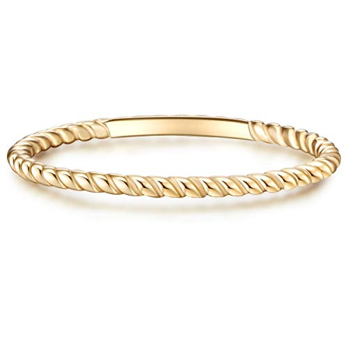 Glanzstücke München Damen-Ring Sterling Silber gelbvergoldet - Steckring gedreht Silberring Gelbgold Vorsteckring Silber 925