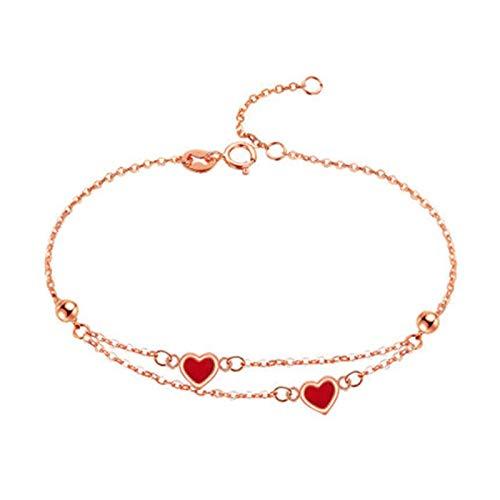 KnSam 18K Oro Rosa Pulsera, Brazalete Corazóns, Color Oro Rosa Regalo para Amantes