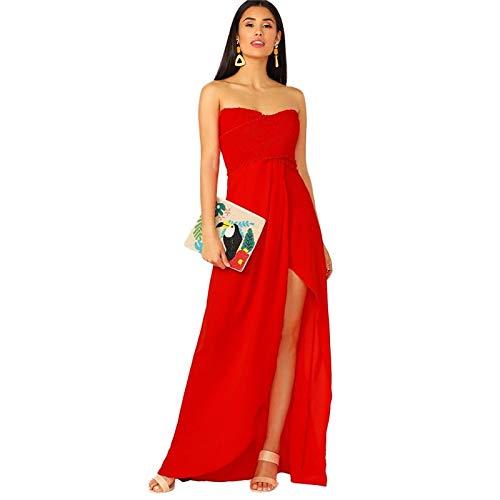 HNDDWZDB Red Frill Wrap Geraffte Mieder Split Oberschenkel Tube Party Maxi-Kleid Frauen Sommer ärmellose glamouröse Damenkleider