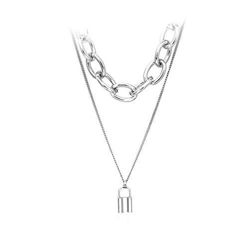 AiZnoY Einzigartiger Stil Halskette Kette Damen Choker Doppelschicht Kettenschloss Für Damen Mädchen EIN Halskette Silber