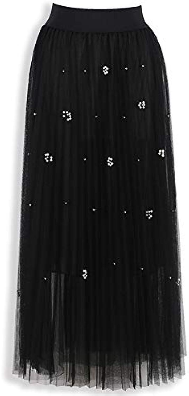 Beaded Mesh Pleated Skirt Skirt High Waist A-line Skirt Gauze Skirt Swing Skirt Long Skirt Bright Silk (color   Black, Size   One Size)