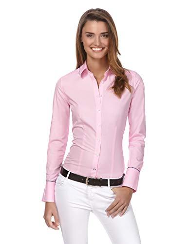 Vincenzo Boretti Damen Bluse leicht tailliert 100% Baumwolle bügelleicht Langarm Hemdbluse elegant festlich Kent-Kragen auch für Business und unter Pullover pink 40