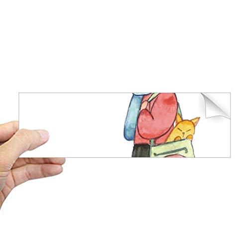 DIYthinker Miaoji Schilderij Kat Winkelen Meisje Rechthoek Bumper Sticker Notebook Window Decal
