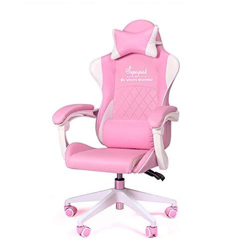 LiKin Silla Gaming Ergonómico para Niña, Reclinable Silla Computadora Sillas de Escritorio Ángulo De Inclinación Y Altura Ajustable (Color : Pink-c)