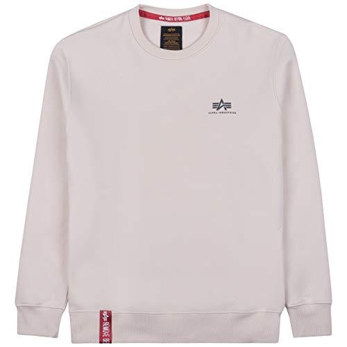 ALPHA INDUSTRIES Sudadera básica para hombre con logotipo pequeño, color blanco Blanco Stream L