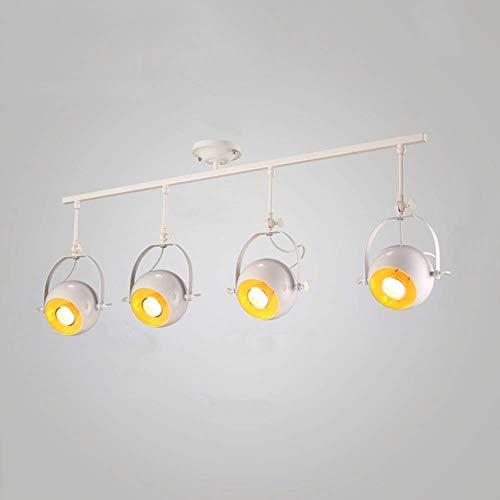 Retro-lamp, wit, industriële plafondlamp, 4 lampen, plafondspots, vintage, metaal, draaibaar, verstelbaar, E27, voor loft, woonkamer, keuken, hal, bar, café, plafond, spot