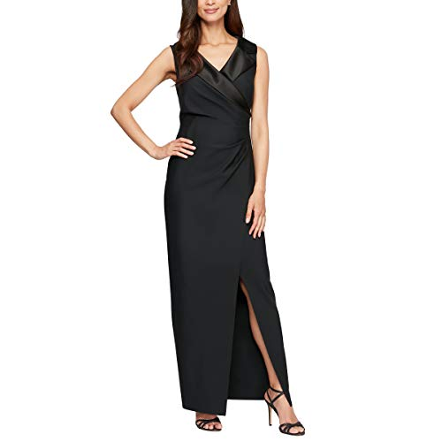 Alex Evenings Women's Slimming Long Side Ruched Dress with Cascade Ruffle Skirt, Black/Satin, 4P
