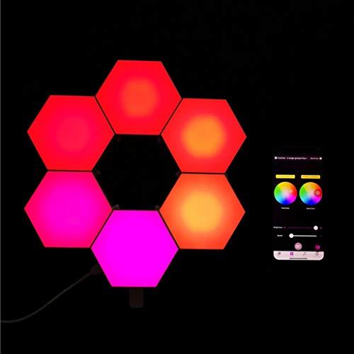 Paneles de luz inteligentes Aplique de Pared LED Hexagonal Empalme DIY Geométrico Modular Sincronización Colorida LED RGB con Música Luces Controladas Por Aplicación Modular para Hotel de Oficina - Pa