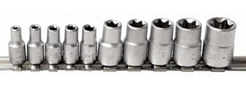 """McKay 10 Pc, 6 Point Star, E-Torx Socket Set: Multi-Functional External Female Drive Easily Chucks into Square Adapters or Ratchets 1/4""""-3/8"""""""