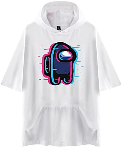 EMILYLE メンズ Tシャツ フード付き半袖 半袖 Among Us 無地 人気 人狼ゲーム アメリカ マルチプレイヤー オシャレ (ホワイト-15845,3XL)