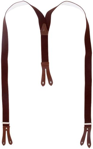 Harrys-Collection Hosenträger Knopfloch echte Lederpatten 11 Farben, Farben:dunkelbraun, Größen:130 cm
