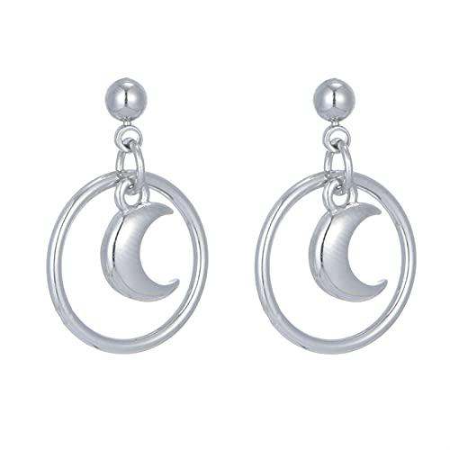 XIALIMY Pendientes para Joyería 925 Pendientes de Plata esterlina Círculos Luna Pendientes Pendientes para Mujeres Sterling Silver Jewelry (Gem Color : 925 Sterling Silver)