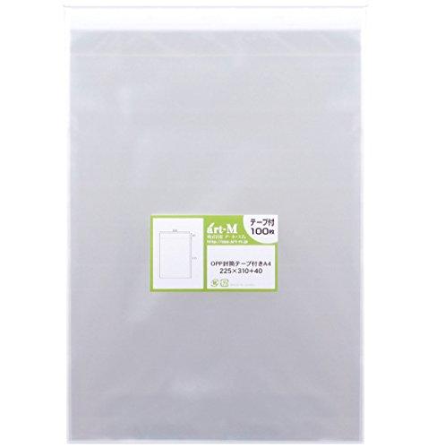 【国産】テープ付 A4【 A4用紙/DM用 】透明OPP袋(透明封筒)【100枚】30ミクロン厚(標準)225x310+40mm