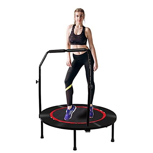 Fitness Trampolin Klappbares Ø ca 100 cm, Kleines Jumping Trampolin Indoor für Erwachsene und Kinder, Workout Trampolin mit 4-stufig Verstellbarem Schaumstoff-Handlauf und Sicherheitspolster 300 lbs