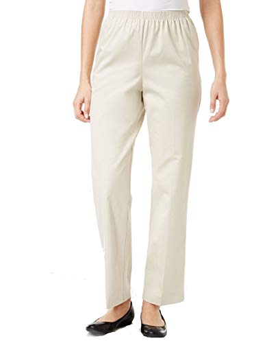 Alfred Dunner Women's Medium Twill Pants All Around Elastic Waist Cotton, Stone, 14