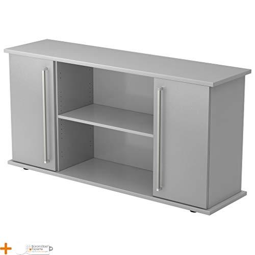 Kantoormeubel Expert dressoir kantoorkast archiefkast houten deuren 3 planken Chromgriff Lichtgrijs-zilver