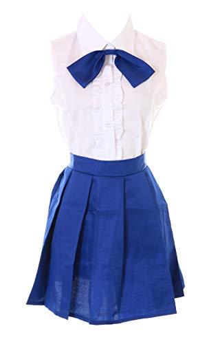 Kawaii-Story MN-101 Fairy Tail Erza Scarlet Azul Blanco Blusa Rock Disfraz Disfraz Manga Anime Cosplay (XL)
