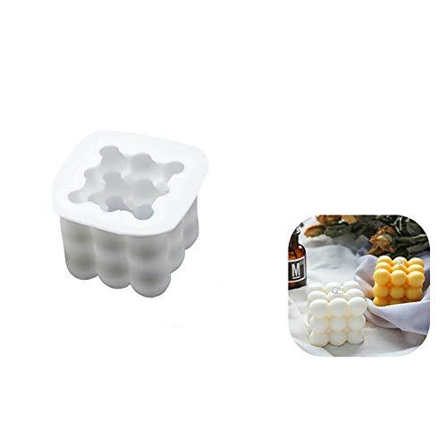 BAQI Molde de silicona para hacer jabón con forma de cubo de Rubik en 3D, para manualidades, adornos de fondant, cera de soja, jabón hecho a mano