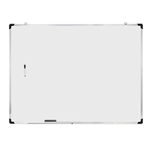Relaxdays Whiteboard, mit Schwamm und Marker, magnetisch, mit Alurahmen, für Meetings Workshops Büro, 90 x 120 cm, weiß