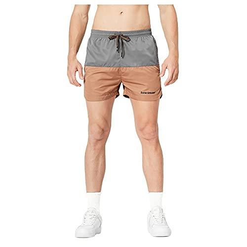 YANFANG Pantalones De Cinco Puntos para Deportes Al Aire Libre Sueltos Sarga Intermitente Verano Hombres,Pantalones Cortos Cintura EláStica con CordóN, Ajustados En La Playa,3-Gris,M
