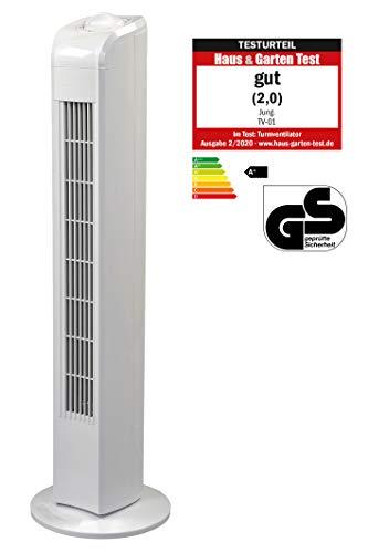 JUNG TF01 Ventilator 76cm weiss, Energiesparend 0,05 kW, Leise Turm-lüfter Lautstärke max 48dbA, Turmventilator, 3 Stufen,75° Oszillierend Drehend