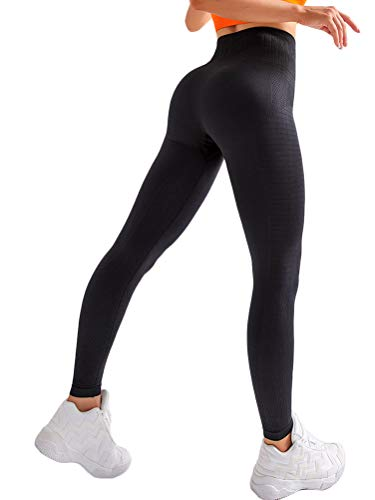 Onsoyours Sin Costura Leggins Mujer, Mallas Fitness Push Up Pantalones Deporte Running Yoga Cintura Alta Pantalones Deportivos Leggins B Negro X-Small