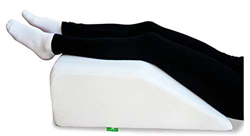 Cushy Form Leg Elevation Pillow - 8 Inch Wedge Pillows for Legs - Elevated Support for Back, Hip and Knee Discomfort & Post-Surgery w  Washable Cover - White