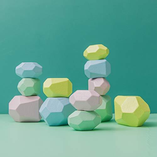 Promise Babe Juguetes apilables de madera, piedras de equilibrio, bloques de construcción de madera Waldorf, piedra de apilamiento de madera arcoíris, juguetes de madera Montessori (Set Four)