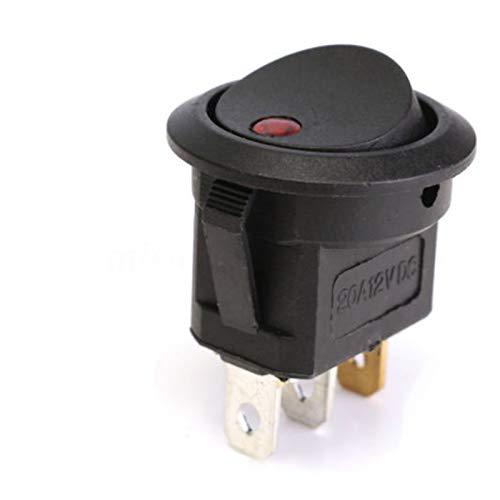 Interruptor basculante Barco del interruptor 20A 12V SPST LED de punto ligero del coche de Ronda a prueba de agua interruptor basculante en del interruptor 2 Posición 3 pernos Toggle ( Color : Red )